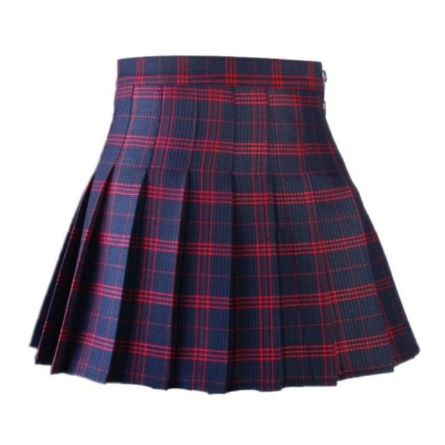 Women Casual Plaid Skirt Girls High Waist Pleated Skirt A-line School Skirtliilgal-liilgal