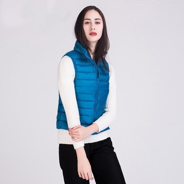 2018 Winter New 90% White Duck Down Vest Stand Collar Warmliilgal-liilgal