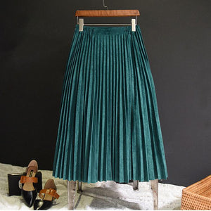 2018 New Fashion Autumn Women Suede Skirt Pink White Long Pleated Skirtsliilgal-liilgal