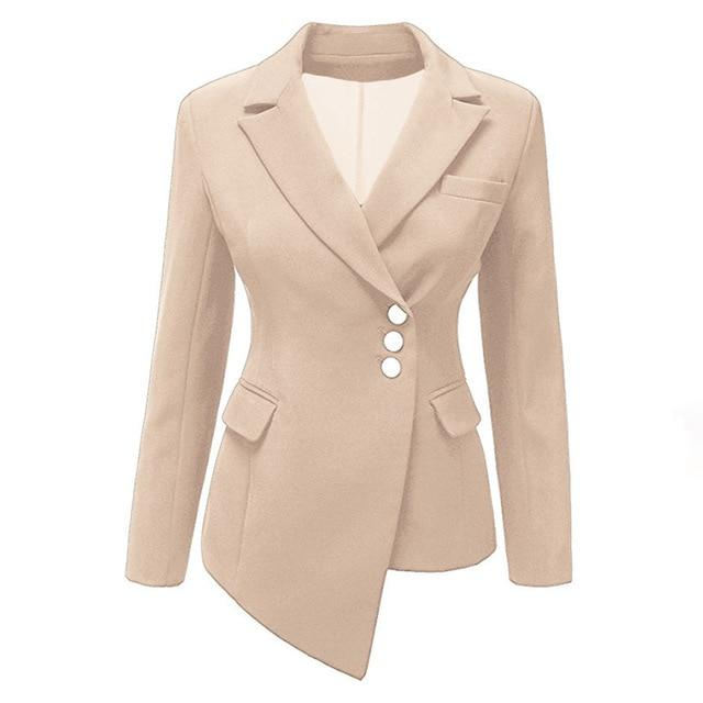 Women office Coat Plus Size Autumn Lady Lapel Single-Breasted Asymmetric Girl Fashionliilgal-liilgal
