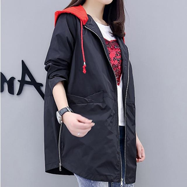 2018 Fashion New Women's Windbreaker Autumn Coat Women Loose Hooded Trench liilgal-liilgal