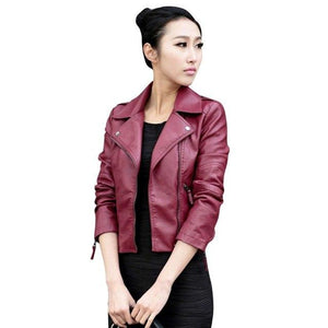 2016 Women Leather Motorcycle Zipper collar Punk Coat Biker Jacket Outwear Fashionliilgal-liilgal