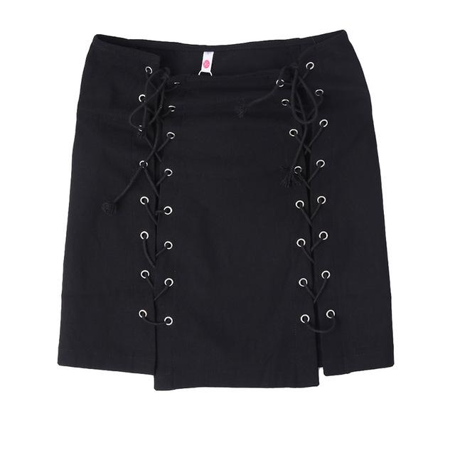 Lace Up Skirts Womens Summer High Waist Slim Party Mini Skirt Sexyliilgal-liilgal