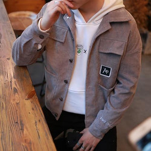 Korean Fashion Jacket Coat Man Corduroy Turn-down Collar Pockets Mens Jackets andliilgal-liilgal