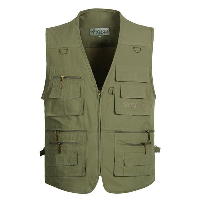 Summer Men Sleeveless Baggy Jacket With Many Pockets Male Casual Regular Fitliilgal-liilgal