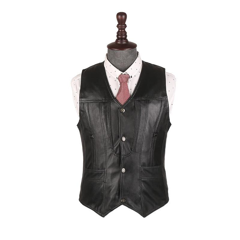 BOU During the spring and autumn 2018 men leather vest Sheep leatherliilgal-liilgal