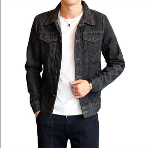 Solid Casual Slim Mens Denim Jacket Plus Size Bomber Jacket Men Highliilgal-liilgal