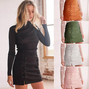 Women Leather Suede Pencil Black Mini Skirt 2018 Summer High Waist Shortliilgal-liilgal