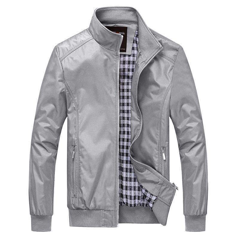 Men Jacket Spring 2018 Autumn Solid color Stand Collar Grey Casual Jacketsliilgal-liilgal