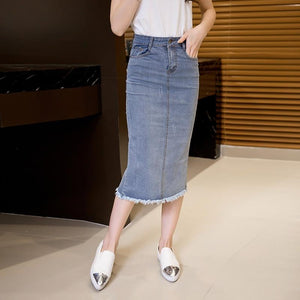Autumn Summer Slim jean skirts Women Casual Tassel A-Line casual denim Skirtliilgal-liilgal