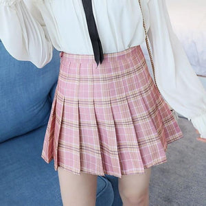 Women's Kawaii Plaid High Waist Pleated Student Skirts Harajuku A-Line Mini Skirtliilgal-liilgal