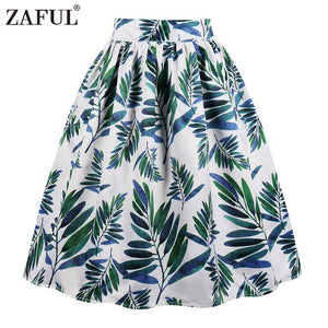 Pocket Women Vintage Skirt Summer Floral Leaf Print Skirts Casual Zipperliilgal-liilgal