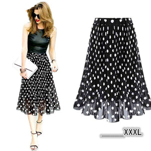 2018 Summer Chiffon polka dot skirt female black dots in theliilgal-liilgal