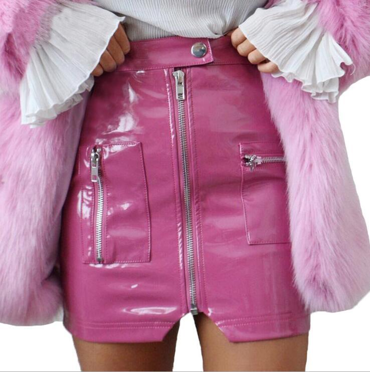 2018 summer new high waist zipper PU leather skirtliilgal-liilgal
