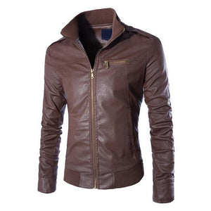 VERTVIE 2018 Autumn Men's PU Leather Jacket Fitness Fashion Motorcycle Jacket Zipperliilgal-liilgal