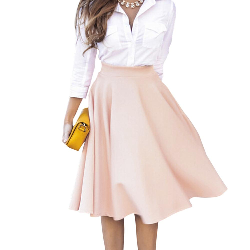Women Perfect Peach Pink Pleats A-line Saias Femininas Flared High Waistliilgal-liilgal