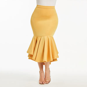 Women yellow skirts fashion Vintage skirts long spring skirt Pleated plus sizeliilgal-liilgal
