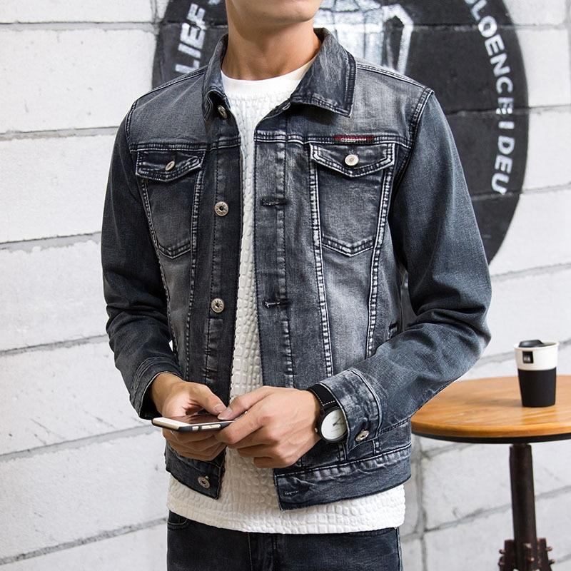 2018 men grey denim jacket Long sleeve youth retro fashion denim jacketliilgal-liilgal