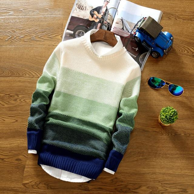 Spring Autumn Men's Jacket Coat Fashion Wool Striped Sweater Pullovers Mensliilgal-liilgal