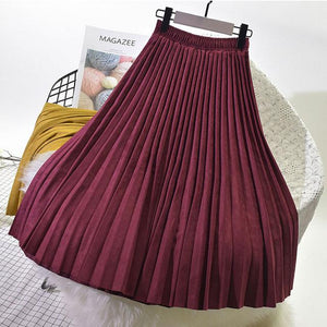 2018 High Quality Autumn Winter Women Suede Skirt Long Pleated Skirts Womensliilgal-liilgal