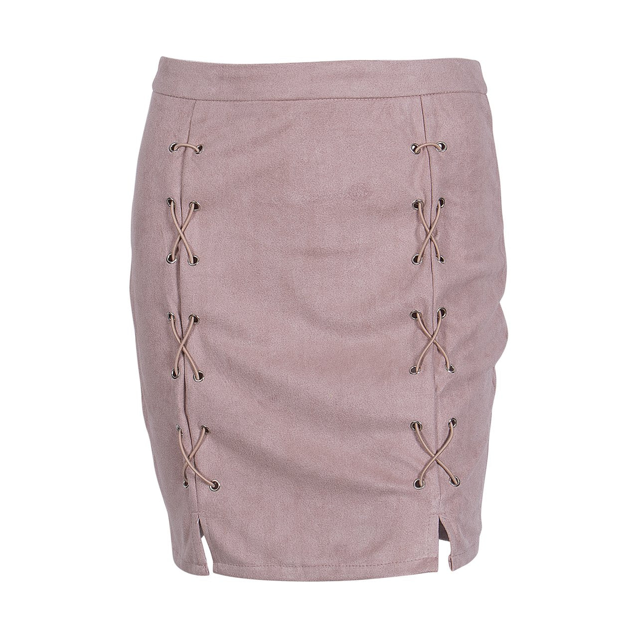 Winter Cross High Waist Skirt 2018 Womens Fashion Autumn Lace Up Leatherliilgal-liilgal