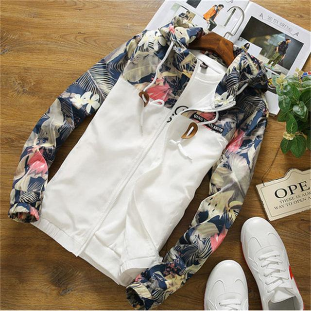 New Fashion Floral Jacket Men Brand New Spring and Summer Slimliilgal-liilgal