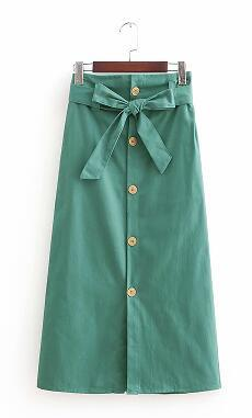 2018 New Women vintage solid color bowknot sashes paper midi skirt ladiesliilgal-liilgal
