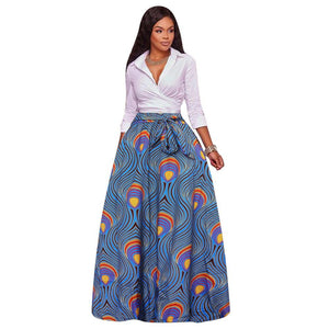 Plus Size 5XL Long Skirts Women Print Ball Gown Autumn Winter Newliilgal-liilgal