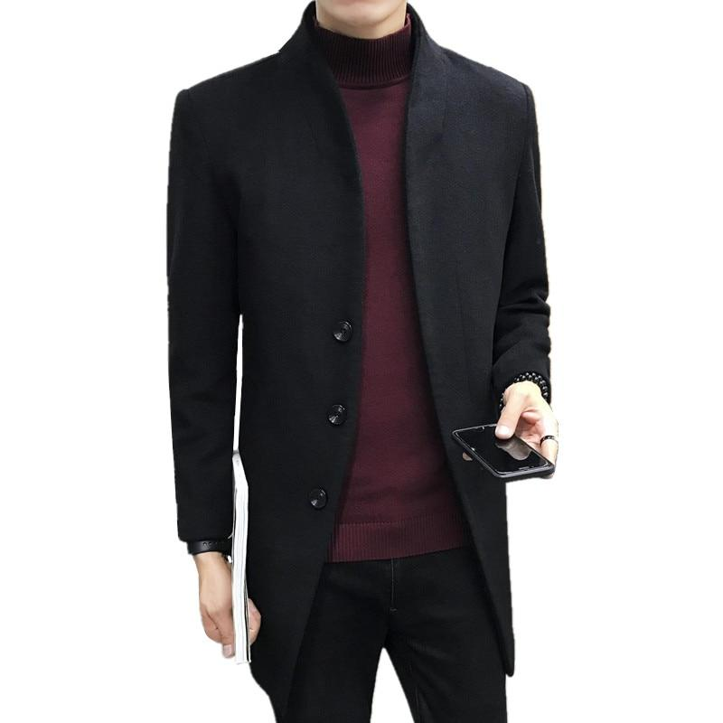 2018 autumn winter fashion new men's casual woolen windbreaker / Men's solidliilgal-liilgal