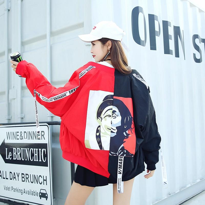 Harajuku Wild loose streamer letters Printed baseball coat thin Sunscreen Zipper Jacketsliilgal-liilgal