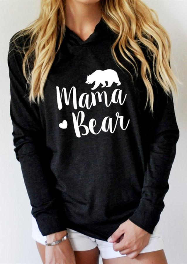 Autumn Hoodies Women Sweatshirts Long Sleeve harajuku Pullovers Hoodie MAMA Heart BEARliilgal-liilgal