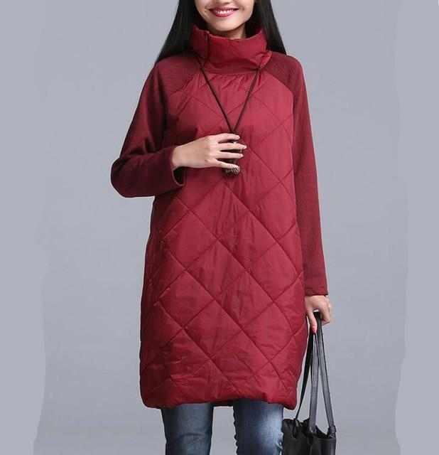 2018 Autumn winter women long coat,patchwork Turtleneck cotton Coat Parkas Thickening Warmliilgal-liilgal