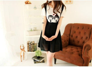 2018 lady casual suspend skirt summer chiffon Strap skirts short pleated skirtliilgal-liilgal