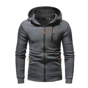 FeiTong Basic jacket coat Men' Autum Winter Long Sleeve Zipper Patchwork Hoodedliilgal-liilgal