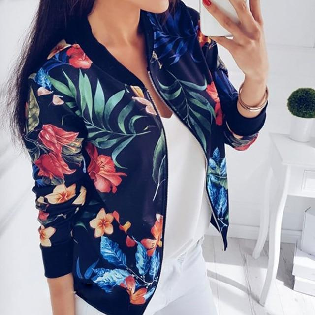 Susi&Rita S-5XL Plus Size Floral Bomber Jacket Women Autumn Casual loose Coatliilgal-liilgal