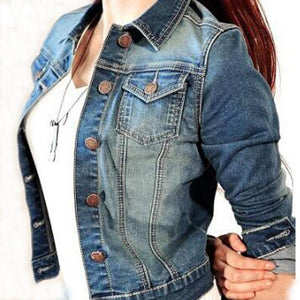 Fashion Women Denim Jacket Turn Down Collar Slim Light Washed Long Sleeveliilgal-liilgal