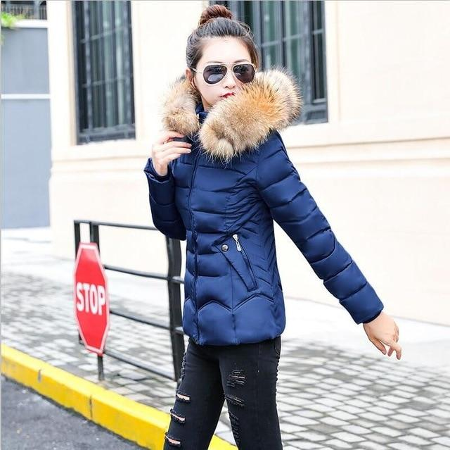 2018 Winter Coat Women Faux Fur Collar Zippers Pockets Coats Ladies Cotton-paddedliilgal-liilgal