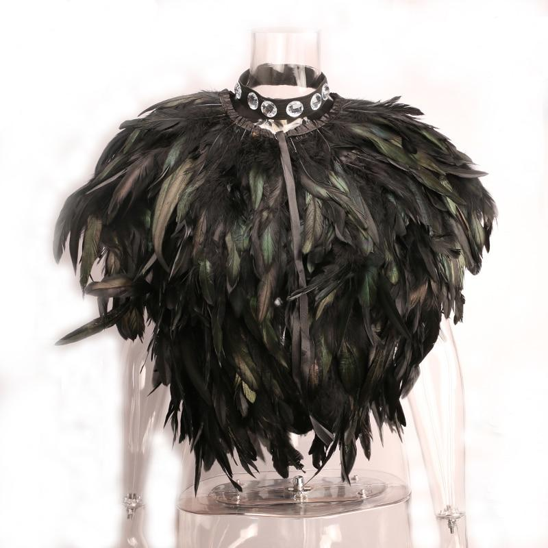 Novelty Fashion Women Feather Shrug Shawl Cape Sleeveless Party Cosplay Hallowmas Halloweenliilgal-liilgal