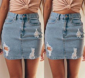 New Fashion Women Denim High Waisted Skirt Sexy Bodycon Pencil Ripped Frayedliilgal-liilgal