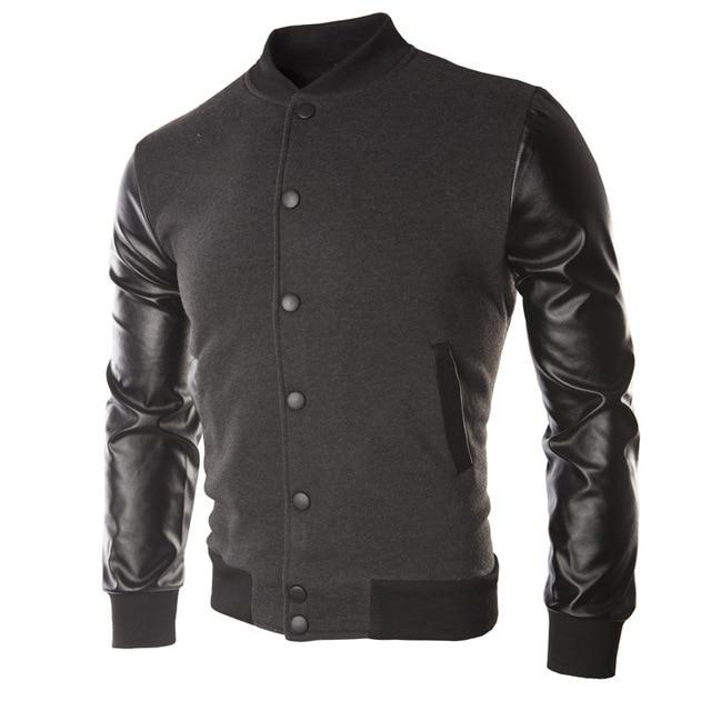 Cool Mens Wine Red Baseball Jacket Autumn Fashion Slim Black Pu Leatherliilgal-liilgal