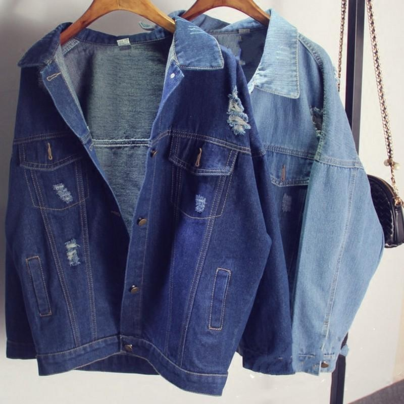Bf Tide Women Jacket And Coats 2016 Spring New Hole Denim Jacketsliilgal-liilgal