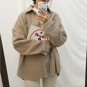 Harajuku Corduroy Jackets Women Winter Autumn Coats Plus Size Overcoats Female Bigliilgal-liilgal