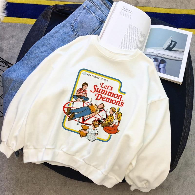 Let's Summon Demons Sweatshirts Winter Female Fashion American Cartoon Casual Vintageliilgal-liilgal