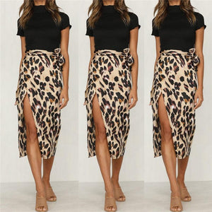 Women's Vintage Leopard Pencil Skirts With Sashes New 2018 Ladies Split Mid-calfliilgal-liilgal