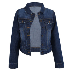 Women Lapel Cropped Denim Jeans Long Sleeve Jacket Coat Shortliilgal-liilgal