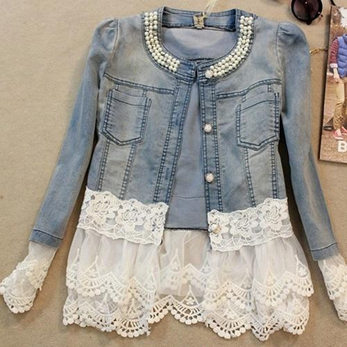 2017 New Lady Lace Stitching Denim 3/4 Sleeve Slim Imitation Pearl Jacketliilgal-liilgal