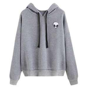 2018 Spring Autumn Women Long Sleeve Hooded Sweatshirt Alien Printed Black Grayliilgal-liilgal