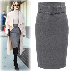 Women's High Waist Wool Pencil Skirt Midi Office Wear Autumn Winter Skirtsliilgal-liilgal
