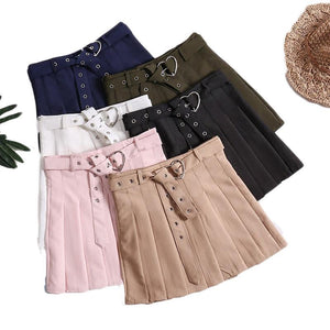 Pleat Skirts Jupe Kawaii Harajuku Preppy Style Sashes Sweet Mini Skirts faldasliilgal-liilgal