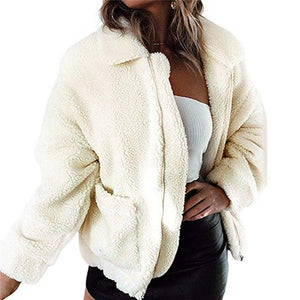 Women Lambswool Faux Fur Coat Pocket Shaggy Jacket 2018 Autumn Winter Warmliilgal-liilgal